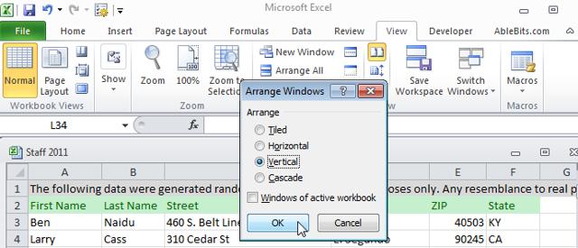 Как в excel 2010 сделать два окна рядом?