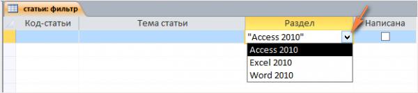 Как сделать фильтр в access 2007?