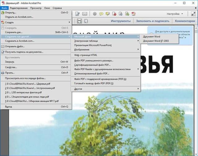 Как сделать из формата pdf формат word?