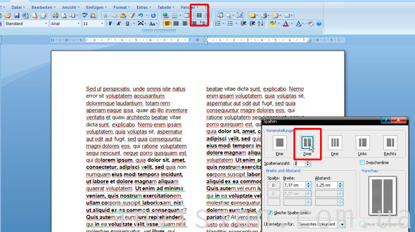 Как сделать текст в 2 колонки в word 2003?