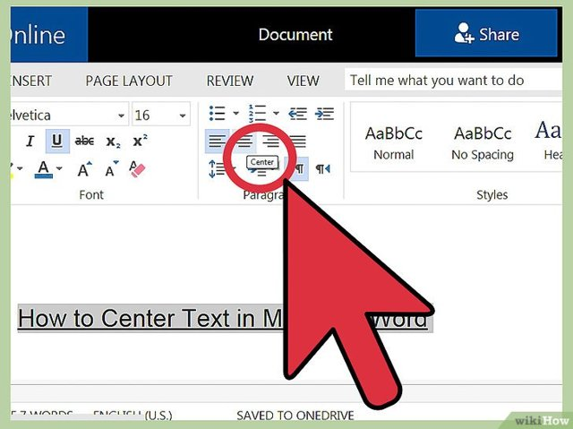 Как сделать текст посередине страницы word?