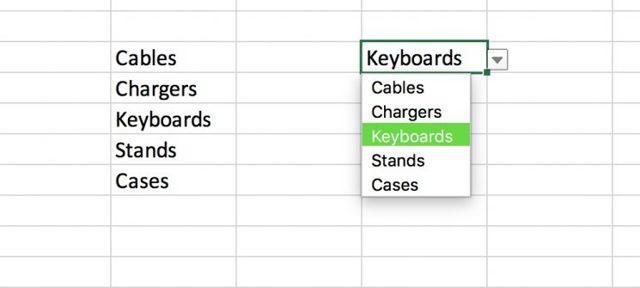 Как сделать выпадающий список в excel mac?