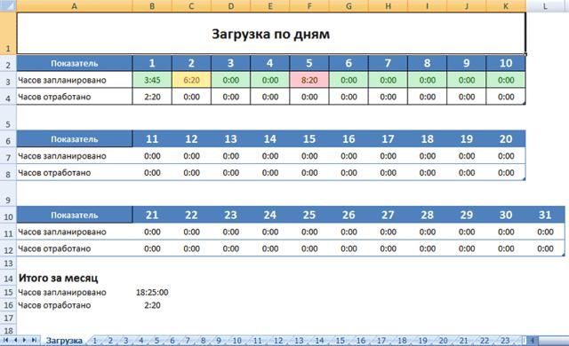 Как сделать календарное планирование в excel?