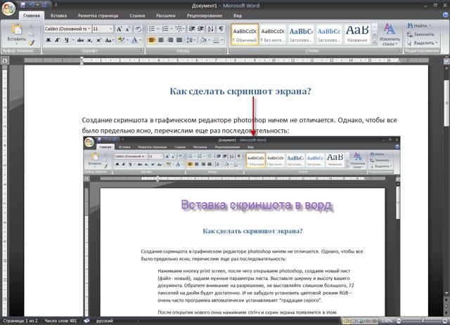 Как сделать скриншот в word 2010?