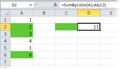 Как сделать сумму в excel по цвету?
