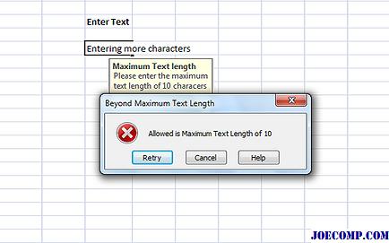 Как сделать сообщение об ошибке в excel?
