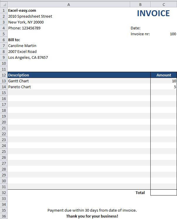 Как сделать счет фактуру в excel?