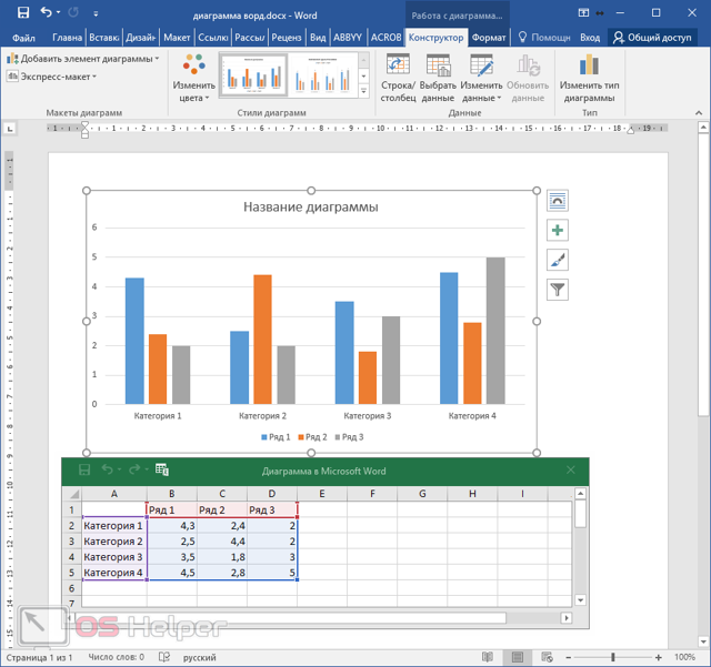 Как сделать диаграмму в word с процентами?