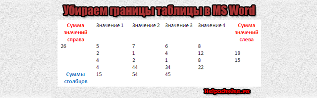 Как сделать невидимую таблицу в word 2010?