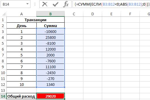 Как сделать число по модулю в excel?
