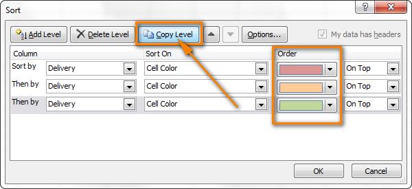 Как сделать сортировку по цвету в excel 2003?
