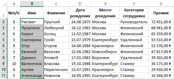 Как список в excel сделать по алфавиту список?