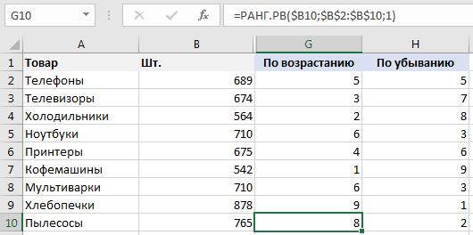 Как сделать числа по возрастанию в excel?
