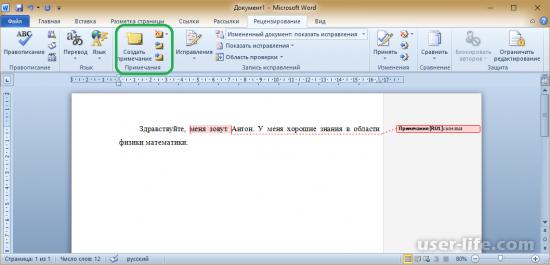 Как сделать область исправлений в word?