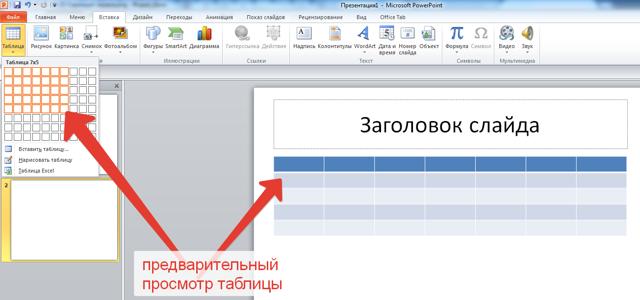 Как сделать шаблон таблицы в powerpoint?