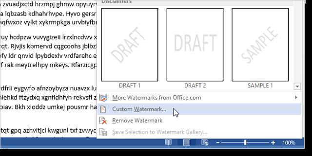 Как сделать водяной знак в word 2010?