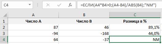 Как сделать разницу в процентах в excel?