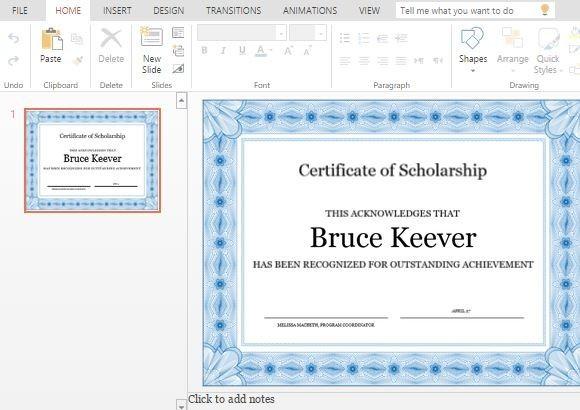 Как сделать сертификат в powerpoint?