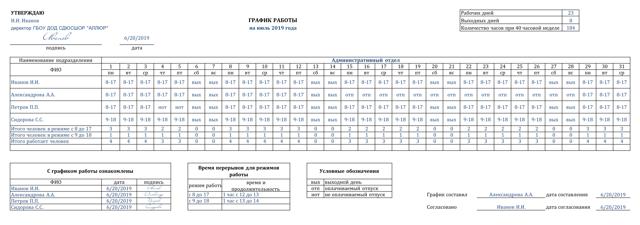 Как сделать расписание дежурств в классе в excel?